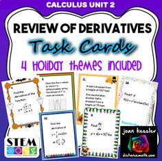 Calculus Derivatives Unit Review with Holiday Themed Task Cards Calculus Notes, Ap Calculus, Chain Rule, Dots And Boxes, College Math, Holiday Themes, Task Cards, Teacher, Professor