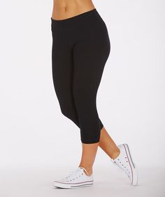 This Black Flat-Waisted Capri Leggings by Balance Collection is perfect! #zulilyfinds