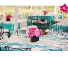 Decoração do casamento azul turquesa com rosa