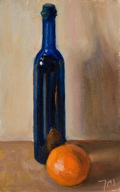 painting of Orange with Blue Bottle
