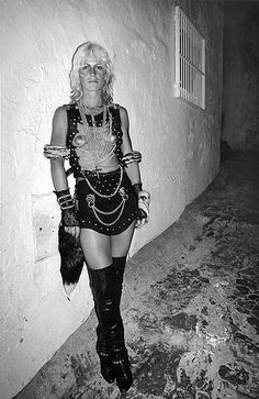 A clubber outside Ku in Ibiza 1984