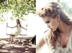 Wedding photo idea..love the swing..and her hair is beautiful too :)