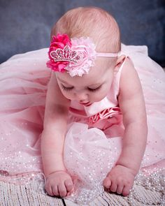 Pink Baby Bow...Pink Baby Headband...Tiara by LittleMissBlingNYC, $12.95