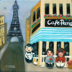 'Join hearts for diversity' with Mei+Kenji and friends. Kokeshis travelling the world on cultural and romantic adventures Snoopy, Romantic, Culture, Adventure, Art Prints, Creative, Painting, Fictional Characters, Paris