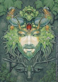 Ravynne Phelan - Dreams of Gaia Tarot and Fantasy Art Orisha, Astro Tarot, Male Witch, Pagan Art, Psy Art, Pentacle, Green Man, Tarot Decks, Gaia