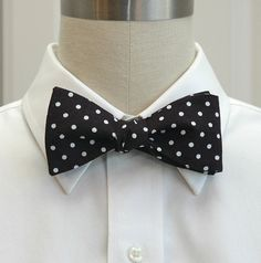 Men's Bow Tie in black with white polka dots