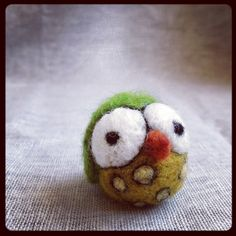 Green and Yellow Spotted OwlNeedle FeltedReady to Ship by cod123, $20.00