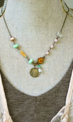 Centimes. bohemian beaded charm necklace. by tiedupmemories, $45.00