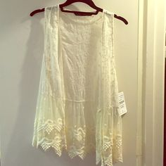 Lace vest. NWT - Zara Very on trend. Lace vest that could be used as a coverup or over a tank top. Zara Jackets & Coats Vests