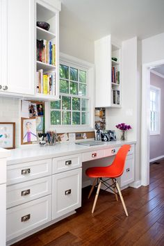 .When you don't have much room for a home office, why not use a section of a room (with a view) to create a work space that's both chic and functional? This one comes from Houzz. Click to see more ideas!
