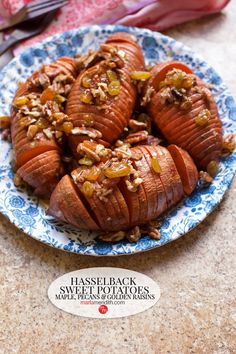 Hasselback Sweet Potatoes with Maple, Pecans & Golden Raisins: Instead of the typical sweet potato casserole, serve these delicious sweet potatoes for the holidays. A great side dish with your Thanksgiving turkey and all the fixings! Sweet Potato Rolls, Sweet Potato Slices, Sweet Potato Casserole, Sweet Potato Recipes, Vegetarian Thanksgiving, Thanksgiving Turkey, Thanksgiving Recipes, Fall Recipes, Turkey Side Dishes