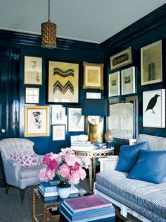 deep mood indigo blue room romance - love accents in a bright color & a few gilt frames on the wall (a den, a bedroom, a dining room, a guest bath)