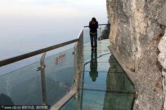 glass path of the side of a cliff on Tianmen Mountain in Zhangjiajie, China