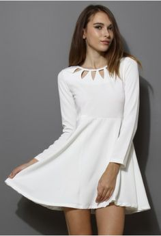 2b7ba852fcc White Cut Out Neckline Dress - Retro