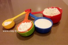 Best Homemade Clay Measuring cups 1 cup ml) plain flour cup ml) Elmer's glue or wood glue cup ml) cornstarch or corn flour Moisturizer (hand/body lotion) - we use Vaseline 1 tbs olive oil (or cooking oil) tbs vinegar Homemade Clay Recipe, Homemade Polymer Clay, Diy Clay, Clay Crafts, Sculpey Clay, Porcelain Clay, Cold Porcelain, Modeling Clay Recipe, Diy Air Dry Clay