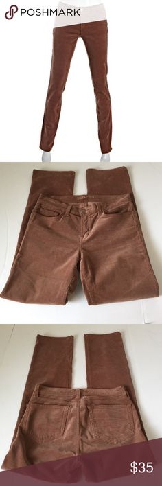 J Brand Cigarette Leg Corduroy Pants, size 28 NWOT J Brand Cigarette Leg Corduroy Jeans in size 28. Color is Henna, a lighter shade of brown. Flat lay measure of the waist is 15.5. Rise is 8.5, inseam is 30, and leg opening is 7.5. More of a straight jeans than skinny. Made from 98% cotton and 2% spandex. Super soft and stretchy! NWOT, please ask if you have any questions. J Brand Jeans Straight Leg