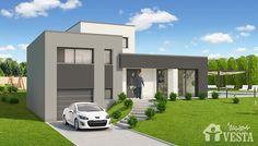 Maisons VESTA :  Modèle Côme (demi-niveau, style contemporain). Surface : 104m² + 34.44 m² surface annexe Contemporary Architecture, Architecture Design, Split Design, Archi Design, Small House Design, House 2, House Plans, Mansions, House Styles