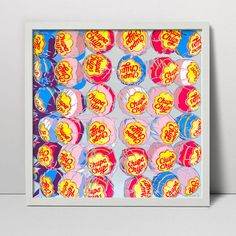 Chupa Chups serigraph - handmade screen print - children art - lollipop art - candy art - candy print - sweets art - kitchen art work funny