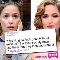 """""""Why do guys look good without makeup? Because society hasn't told them that they look bad without it"""" feminism, feminist quotes, women's rights, equality, equal rights Lgbt, Feminist Quotes, Feminist Af, New Wife, Intersectional Feminism, The Way You Are, When You See It, Patriarchy, Equal Rights"""