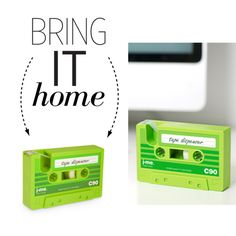 Bring It Home: Cassette Tape Dispenser by polyvore-editorial on Polyvore featuring interior, interiors, interior design, home, home decor, interior decorating and bringithome