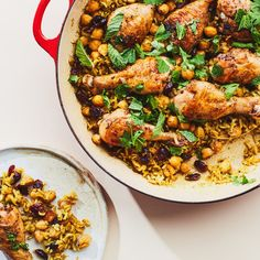 One-Pan Chicken Drumsticks with Rice and Beans