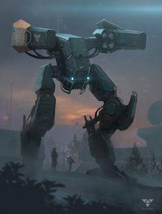 Another mech, i'm really starting to enjoy these Cyberpunk, Blade Runner, Cool Robots, Robots Robots, Robot Concept Art, Futuristic Art, Art Et Illustration, Robot Design, Science Fiction Art
