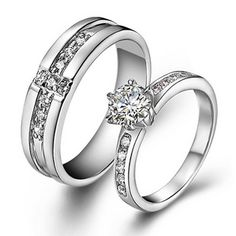 925 Sterling Silver Swiss Diamond Highend Wedding Couple Ring