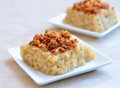 Biko (sweet sticky rice a la Philippines) A creamy dessert made with sticky rice and coconut milk garnished with latik or cooked-down coconut cream