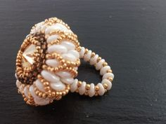 Beaded ring with superduo