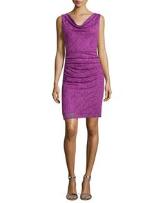 Sleeveless Lace Ruched Sheath Dress by Laundry by Shelli Segal at Neiman Marcus.