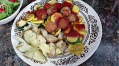 1 Baked potato, salt & pepper, spray butter = 4 sp. 2 cups sauted zucchini & yellow squash cooked with cooking spray.   6 Fit & Active Turkey meatballs =  5 sp. 1/4 cup Simply Organic tomato sauce = 0 sp. With a side salad.  Total 9 smartpoints