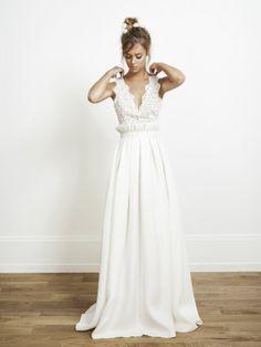 romantisches Hippie Brautkleid, mit Spitze, Hochzeitskleid