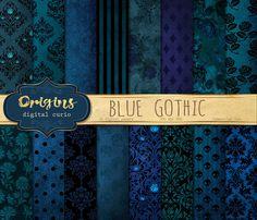 Blue Gothic Digital Paper by Origins Digital Curio on Creative Market - Digital Paper Freebie, Digital Scrapbook Paper, Digital Papers, Rustic Halloween, Halloween Scrapbook, Printable Designs, Printables, Paper Background, Colour Schemes