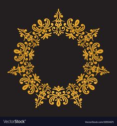 Elegant luxury vintage round gold floral frame vector image on VectorStock Sun Painting, Stencil Painting, Art Deco Tattoo, Royal Pattern, Ornament Drawing, Clock Art, Turkish Art, Photo Wall Collage, Gold Texture