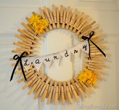 Easy Crafts To Make and Sell - Clothespin Wreath - Cool Homemade Craft Projects You Can Sell On Etsy, at Craft Fairs, Online and in Stores. Quick and Cheap DIY Ideas that Adults and Even Teens Crafts To Make And Sell, Diy And Crafts, Craft Projects, Projects To Try, Craft Ideas, Decorating Ideas, Mantle Decorating, Spring Projects, Clothes Pin Wreath