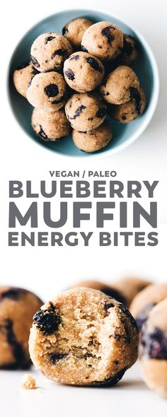 Tasty little balls of blueberry muffin that are unbaked but still fluffy like cake and healthy too. Plus an easy trick for dried blueberries in the oven! vegan glutenfree paleo nobake snacks blueberry easyrecipe energyballs via 614389574143816838 Paleo Blueberry Muffins, Blue Berry Muffins, Vegan Blueberry Recipes, Cranberry Muffins, Healthy Vegan Snacks, Vegan Treats, Paleo Vegan, Easy Vegan Snack, Vegan Snacks On The Go
