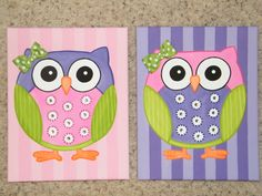 simple canvas paintings | Owl painting 11x14 canvas custom colors by GLITTER4GIRLZ on Etsy