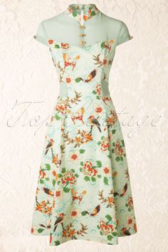 Banned - 50s Floral Dress in Spring Green
