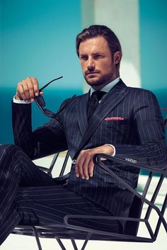 Hugo Boss fitted pin stripe suit always sexy!
