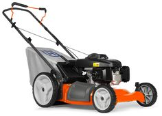 Lawn Mowers 7021P Push Mower. This efficient push mower features a compact design, making it easy to maneuver in tight spaces, and three cutting systems, collection, mulch and side discharge. The handle folds for easy storage and transportation and double ball-bearing wheels ensure smooth operation and durability. The 7021P also offers 4-point, 9 position cutting height adjustment for varying lawn conditions.