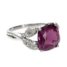 Natural Purple Spinel Diamond Ring | From a unique collection of vintage engagement rings at http://www.1stdibs.com/jewelry/rings/engagement-rings/