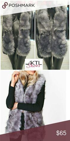 Gray Faux Fur Gilet Gray Faux Fur  Long Gilet/Vest Jackets & Coats Vests