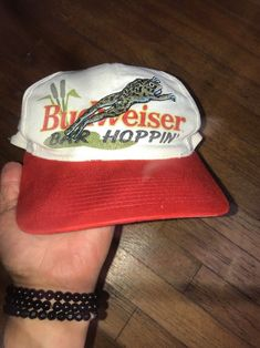 4d66be12d2fc Details about RARE VTG Budweiser Beer Baseball Cap hat Frog Hoppin  Super  Bowl 90 s