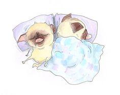 Bed Pugs - True Love Art Pug Print for Bedroom - Sleeping Pugs Ink Drawing & Watercolor Painting - Handmade Art Print from InkPug! on Etsy, $10.00