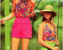 Crochet Pattern Vintage-70s Granny Squares Halters Top Set Lot-Retro-Boho Top-Bohemian Clothing- Hippie Retro pdf file-Vtg DIY
