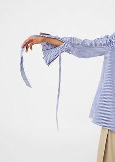 Gestreepte off-shoulder blouse | MANGO