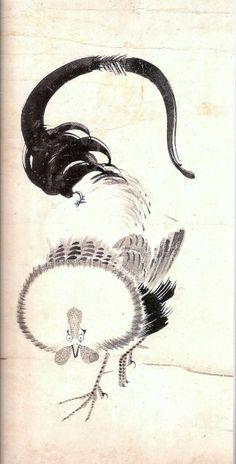 Itō Jakuchu. Rooster. Japanese hanging scroll. Eighteenth century.
