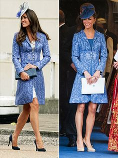 BLUE BROCADE COAT   Such lovely detail and great with her skin/hair coloring!
