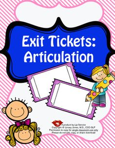 These exit tickets were designed to use with articulation/speech sound students. For use after the therapy session, to reinforce the target of the session. Students can also take these home to show what they are practicing!