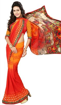 Look adorable in this coral and orange color printed georgette sari. This charming attire is displaying some wonderful embroidery done with block print and lace work. Upon request we can make round front/back neck and short 6 inches sleeves regular saree blouse also. #ShinyOrangeDigitalPrintSaree
